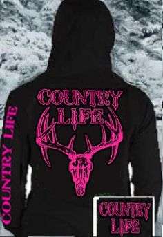 Country Life Outfitters Black & Neon Pink Deer Skull Bonehead Head Hunt Vintage Hoodie from Simply Cute Tees. Country Girls Outfits, Cowgirl Outfits, Cowgirl Boots, Bff Shirts, Cool Shirts, Awesome Shirts, Hoodie Sweatshirts, Simply Cute Tees, Hunting Hoodies
