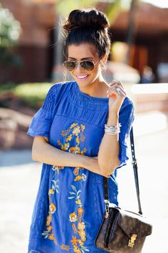 FEBRUARY 16, 2016 Embroidered Dolly Dress - DRESS: Free People (comes in another color that is even cuter!) | WEDGES: Jessica Simpson (fully in stock – under $100!) | BAG: Louis Vuitton (similar style HERE) | SUNGLASSES: Ray-Ban | BRACELETS: David Yurman (all linked in tool below!) | EARRINGS: Chanel (used ones here) | LIPS: 'Pink Pigeon' (new fave pink!)