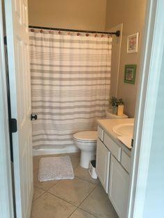 Small bathroom before moving in Bathroom Storage, Small Bathroom, Cypress Pine, Curtains, Shower, Home Decor, Bathroom Vanity Cabinets, Small Shower Room, Rain Shower Heads