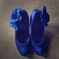 Blue satin material heels New never worn Shoes Heels