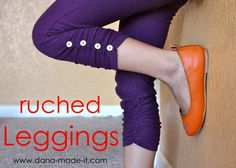 TUTORIAL: Ruched Leggings (for girls and women). Instructions for making leggings from scratch. I'll use the ruching instructions to turn Coraline's too short leggings into perfectly ruched capris. Diy Clothing, Clothing Patterns, Sewing Patterns, Clothes Refashion, Refashioned Clothes, Sewing Pants, Sewing Clothes, Look Fashion, Diy Fashion