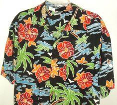 aa65803b Vtg Kennington Ltd Mens Floral Hawaiian Aloha Beach Shirt Large Black Rayon  #Kennington #ButtonFront