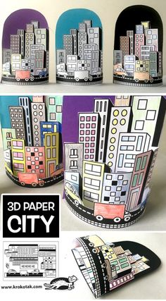 PAPER CITY (krokotak) - PAPER CITY (krokotak) - - This simple paper bag craft makes sweet paper houses that will lead to hours of creative play! Middle School Art, Art School, High School, School Kids, Arte Elemental, Art For Kids, Crafts For Kids, Summer Crafts, Classe D'art