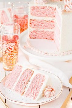 This Pink Champagne Cake is the perfect way to celebrate any occasion or holiday! A champagne infused cake with a classic vanilla buttercream. A slice of this pretty pink champagne cake with a glass of bubbly. Champagne Wedding Cakes, Pink Champagne Cake, Köstliche Desserts, Delicious Desserts, Food Cakes, Cupcake Cakes, Cake Recipes, Dessert Recipes, Mothers Day Cake