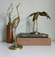 Brass Cranes, Bird Figurine, Bird Statue Brass Animals Vintage, Bookshelf Decor, Heron Decor, Egret Decor, Bird Lover Gifts, Brass Bird Figurine, Brass Flamingo