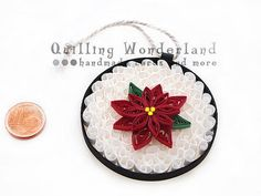 Christmas Ornament Poinsettia Holiday by QuillingWonderland