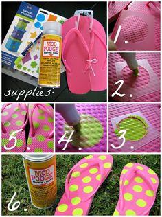 DIY polka dot flip flops tutorial