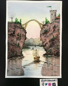 Beautiful #fantasy #watercolor #illustration by @ericdrawsart of a sailing ship navigating between two sheer cliffs and passing towards Eric's new fantasy world of Tumeria.  Those reflections on the water's surface are gorgeous especially when contrasted with the dark reddish  rocks of the cliff faces. Hm... those red rocks are probably filled with iron... reddish hues in stone typically mean that the ground has iron as iron oxide (rust) is formed as the iron gets exposed to the air. This…