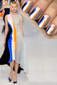 mani to match Dior Resort outfit Love Nails, How To Do Nails, Fun Nails, Pretty Nails, How To Wear, Nail Designs 2014, Cool Nail Designs, Runway Nails, Lady Fingers