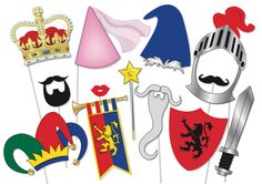Knights and Maidens Photo booth Party Props Set - 14 Piece PRINTABLE - Knight in shining armour, Jester, Royal court, Princess, Wizard