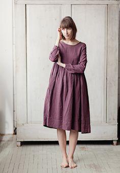 Leinenkleid lila Langarm hohe Taille Hand Made von SondeflorShop