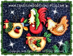 CC106 - Funky Christmas Chickens Ornaments - Painting E Pattern - pinned by pin4etsy.com