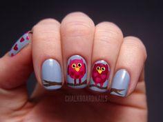 Valentine's owls - nail art