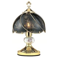 Touch Table Lamp In. has Floral Elegance with Touchable Base Understated elegance is here, with the Ore Touch Lamp in Floral. Touch Table Lamps, Touch Lamp, Table Lamp Shades, Metal Table Lamps, Black Table Lamps, Black Lamps, Glass Table, Light Bulb Wattage, Touch Of Gold