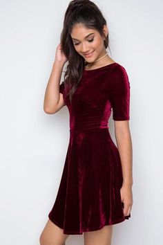 Jackson Velvet Dress - Burgundy