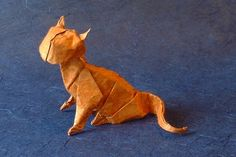 Orange Origami Cat by Jose Anibal Voyer