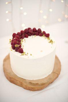 Raspberry Pistachio Wedding cake with Marscapone icing