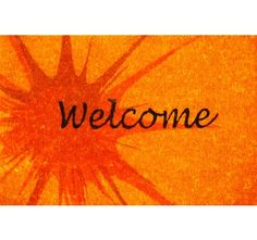 Orange Splash Coir (Coco) Welcome Mat