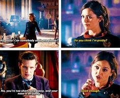 """""""Some people say that the Doctor could be showing that he has romantic feelings for Clara, and that they're worried because he's meant for River. But I don't see it like that. For Eleven and Clara, I see a brother/sister relationship where the Doctor is the overly protective older brother and Clara is the defiant little sister that saves his life in the end."""" So true."""