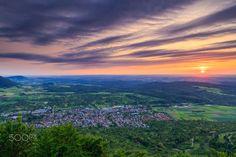 Sunset over Owen/Teck - Sunset view from Teck Castle in Owen near Kirchheim Teck