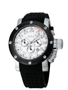 #MaxXLWatches Reference: 5-max426 Sports                Movement: Quartz movement             Diameter: 47mm                                      Water rsistence: 50m                               Description: Stainless steel case, mineral glass, chronograph, date, White dial .                                     Strap: Black Rubber. Available at www.chronowatchcompany.com