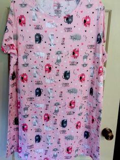 c687640dd6 Womens Plus Size Sleep Shirt Bardot Pink Cats Size 2X 3X Pajama Kitty
