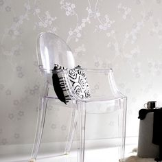 Cherry Blossom White Mica Wallpaper by Graham and Brown