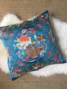 vintage blue embroidered chinese silk pillowcase / oriental / flower floral