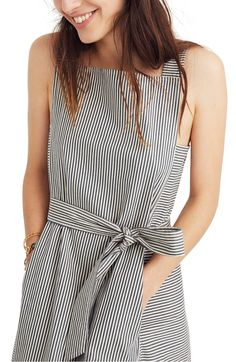 37fd6e4559d8 Free shipping and returns on Madewell Stripe Apron Tie Waist Midi Dress at  Nordstrom.com