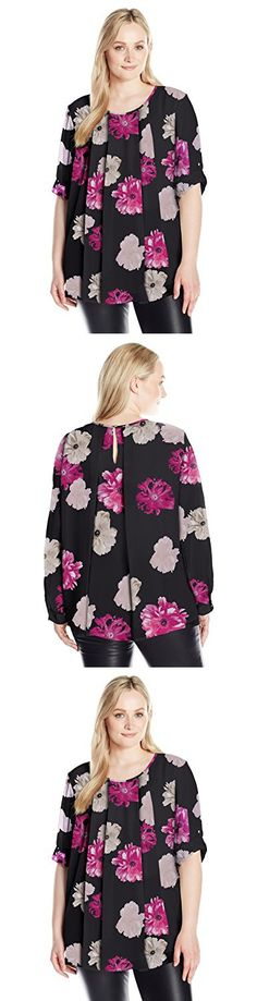 Calvin Klein Women's Plus Size Printed Roll Sleeve Top with Pleats, Black/Rose, 0X