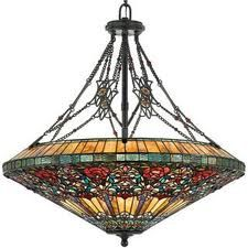 Nice Tiffany Stained Glass Rose Garden Pendant Chandelier