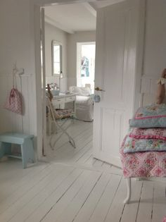 Shabby chic room. Love it all, especially white painted floor