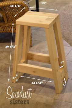 Build a barstool using only 2x4s. Tutorial at sawdustsisters.com