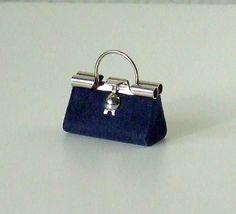 Dollhouse Miniature Navy Blue Purse Handbag by WhimsyCottageMinis