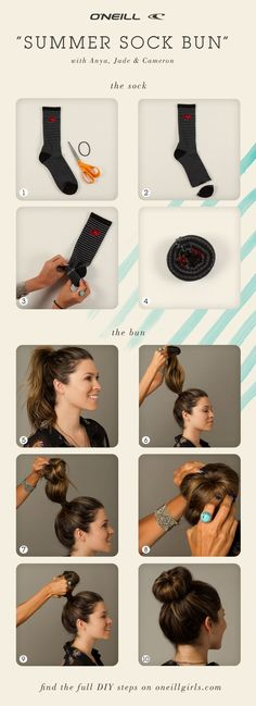 Summer sock bun hair tutorial. DIY. High bun. This is what I use!! I'll have to send this to everyone who asks how I do it