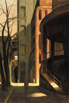 Three Trees - Rick Amor, 2019 Australian, Oil on canvas, 130 x 89 cm Fantasy Landscape, Urban Landscape, Landscape Art, Landscape Paintings, Landscapes, Australian Painters, Australian Artists, Eclectic Paintings, Cityscape Art