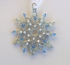 Beautiful beaded snowflake ornaments on Etsy