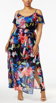 Plus Size Cold-Shoulder Maxi Dress