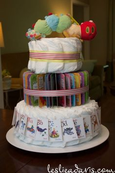 Storybook-themed shower Diaper Cake