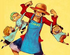 One Piece, Strawhat Pirates, Luffy, Sanji, Zoro, Usopp