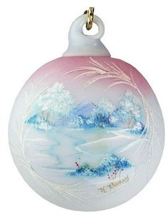 Fenton Hand Painted Glass Ornament in Blue Burmese Glass
