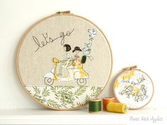 Embroidery Hoop Art  'Let's go' Textile by ThreeRedApples on Etsy, £30.00