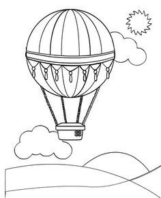 Hot Air Balloon Free Printable Balloons Coloring Pages
