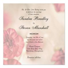 Small Pink Flowers Wedding Invitations