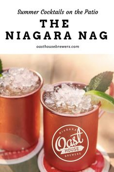 Patio season is our favourite time of year here at Niagara Oast House Brewers. Come and enjoy our craft beer and craft beer cocktails! The Niagara Nag is a crowd favourite that plays off of a Moscow Mule cocktail while using our Ginger Beer. Ginger Beer, Summer Cocktails, Craft Beer, Brewery, Wines, Patio, Moscow Mule, Tableware, Plays
