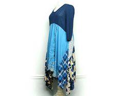 Long Tunic Dress, Long Bohemian Dress, Lagenlook Style, Lagenlook Clothing, Bohemian Dress, Upcycled Clothing for Women by Primitive Fringe
