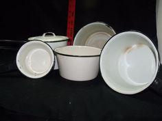 7 Piece Set Vintage Enamelware Sauce Pans White Black Handles  Double Boiler Vintage Enamelware, Vintage Kitchenware, Enamel Cookware, Double Boiler, Tableware, Ebay, Black, Dinnerware, Black People