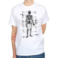 cd72075e4e1cbd Labeled skeleton anatomy biology science art vintage hipster mens t-shirt  tee