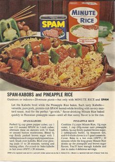 SPAM and Minute Rice Original 1965 Vintage Print Ad Color Photo SPAM Kabobs Pineapple Rice Recipe