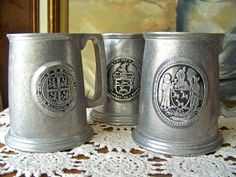 Vintage Pewter Beer Mugs by cynthiasattic on Etsy, $65.00